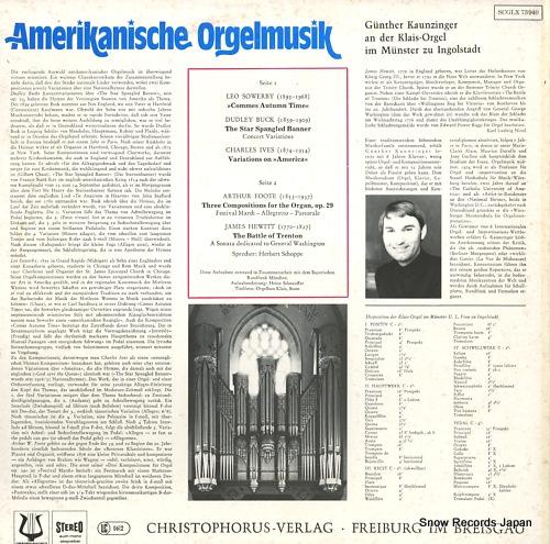 KAUNZINGER, GUNTHER amerikanische orgelmusik SCGLX73940 - back cover