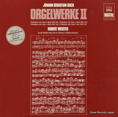 MEISTER, HUBERT bach; orgelwerke ii MD+GG1105 - front cover