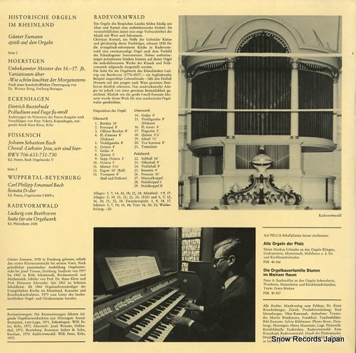 NEUMANN, GUNTER historische orgeln im rheinland PSR40573 - back cover