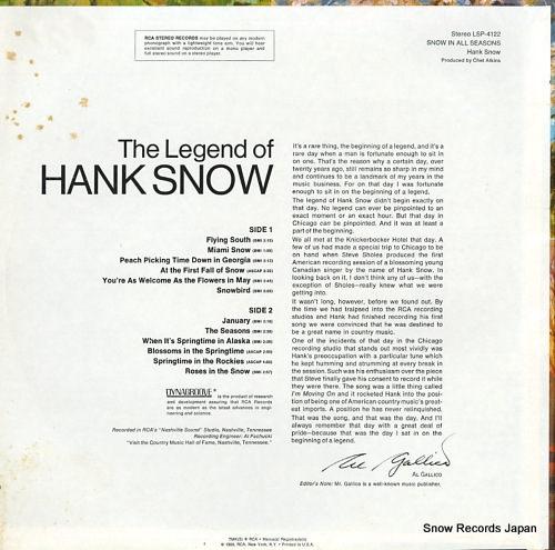 SNOW, HANK snow in all seasons LSP-4122 - back cover