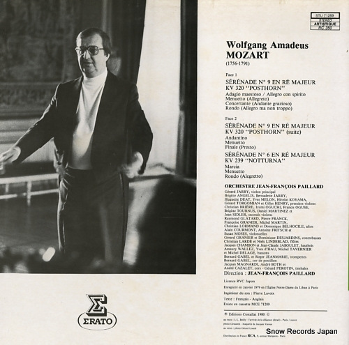PAILLARD, JEAN-FRANCOIS mozart; serenade no9 kv320, no6 kv239 STU71289 - back cover