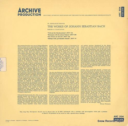 V/A the works of johann sebastian bach ARC3104 / 14604APM - back cover