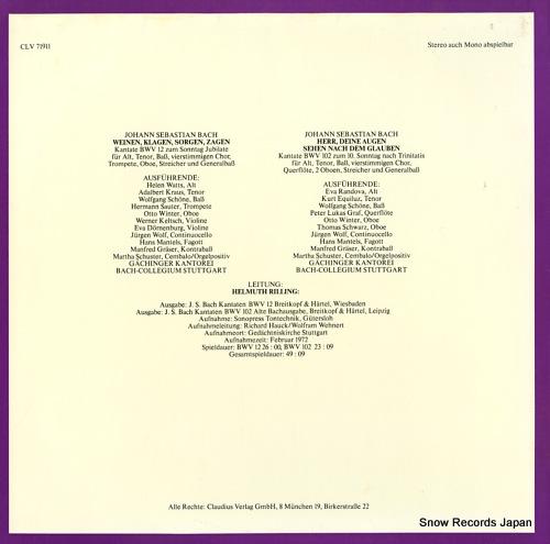 RILLING, HELMUTH die bach kantate / bwv12 weinen, klagen, sorgen, zagen CLV71911 - back cover