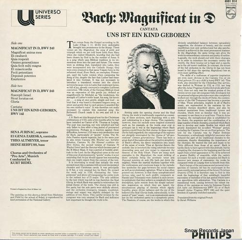 REDEL, KURT bach; magnificat in d / cantata uns ist ein kind geboren 6581014 - back cover