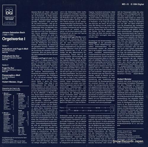MEISTER, HUBERT bach; orgelwerke i MD+GG1084 - back cover