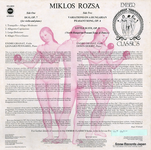 ROZSA, MIKLOS rozsa; duo, op.7 ECL9043 - back cover