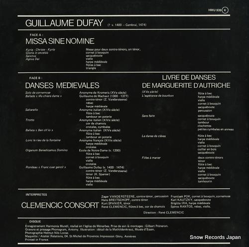 CLEMENCIC CONSORT dufay; missa sine nomine HMU939 - back cover