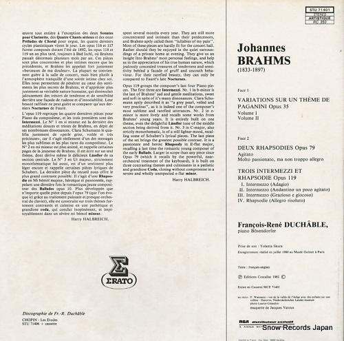 DUCHABLE, FRANCOIS-RENE brahms; variations sur un theme de paganini op.35 STU71401 - back cover