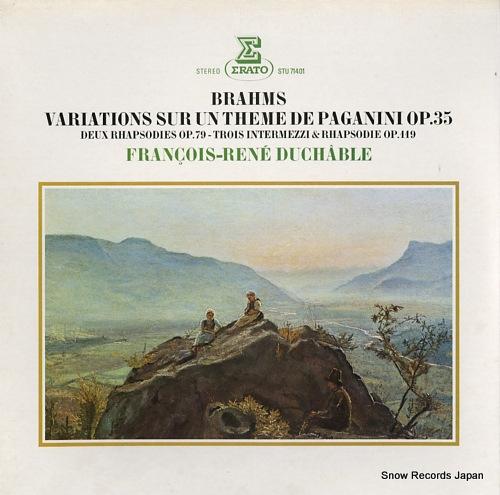 DUCHABLE, FRANCOIS-RENE brahms; variations sur un theme de paganini op.35 STU71401 - front cover
