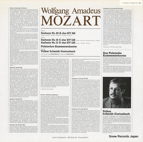 SCHMIDT-GERTENBACH, VOLKER mozart; sinfonir a-dur kv201, c-dur kv128 & g-fur kv129 APO240243 - back cover
