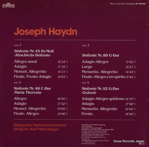 MUNCHINGER, KARL haydn; sinfonien nr.45, nr.48, nr.88, nr.92 INT180.836 - back cover