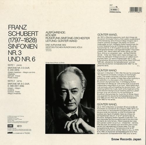 WAND, GUNTER schubert; sinfonien nr.3 d-dur, nr.6 c-dur EL1999881 - back cover
