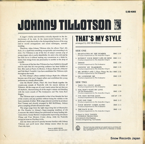 TILLOTSON, JOHNNY that's my style E4302 - back cover