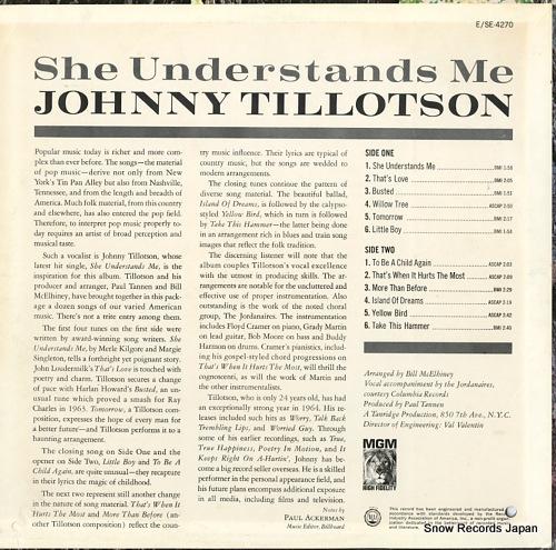 TILLOTSON, JOHNNY she understands me E-4270 - back cover