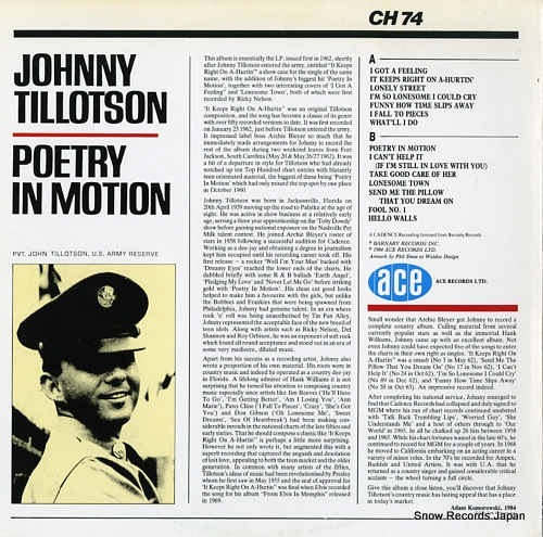 TILLOTSON, JOHNNY poetry in motion CH74 - back cover
