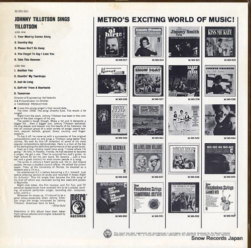 TILLOTSON, JOHNNY johnny tillotson sings tillotson vol.1 M-561 - back cover