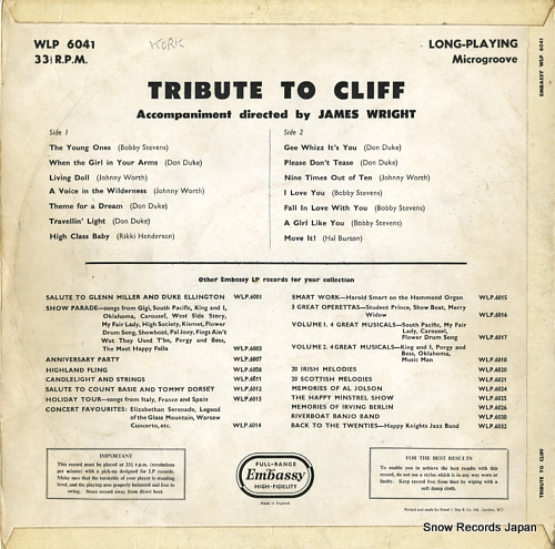 V/A tribute to cliff WLP6041 - back cover