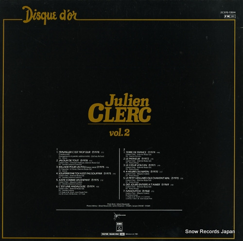 CLERC, JULIEN disque d'or vol.2 2C070-72014 - back cover