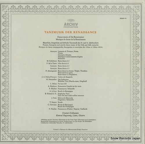 ULSAMER-COLLEGIUM dance music of the renaissance 2533111 - back cover