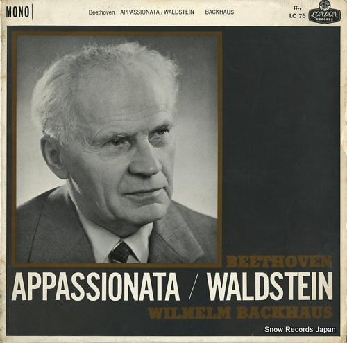 BACKHAUS, WILHELM beethoven; appassionata / waldstein LC76 - front cover