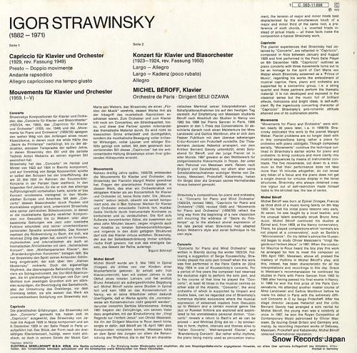 BEROFF, MICHEL / SEIJI OZAWA strawinsky; capriccio / mouvements / concerto 1C063-11698 - back cover