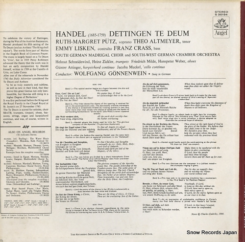 GONNENWEIN, WOLFGANG handel; the dettingen te deum 36194 - back cover