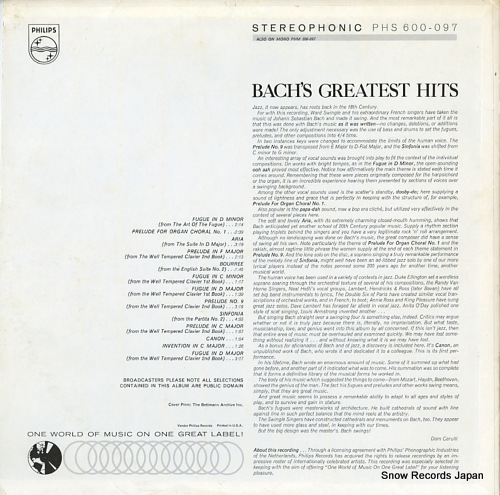 SWINGLE SINGERS, THE bach's greatetst hits PHS600-097 - back cover