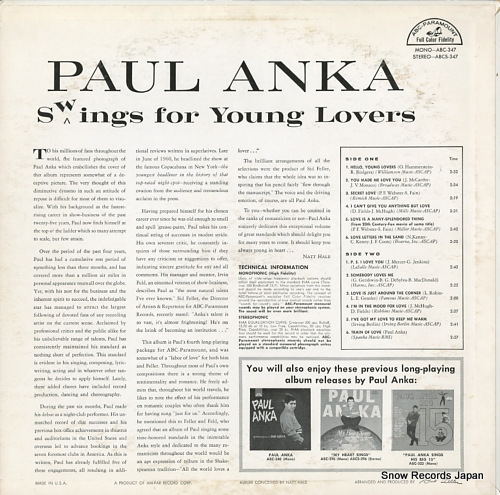 ANKA, PAUL swings for young lovers ABC347 - back cover