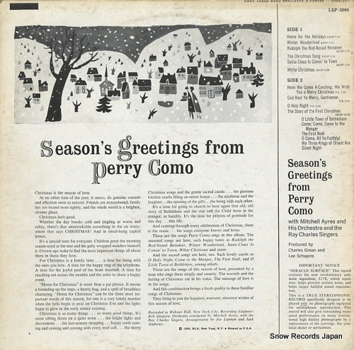 COMO, PERRY season's greetings from perry como LSP-2066 - back cover