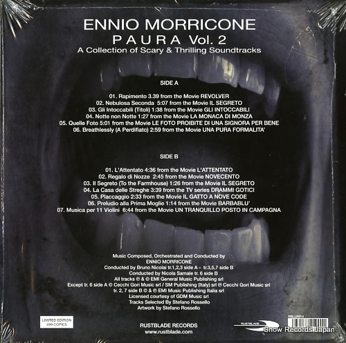 MORRICONE, ENNIO paura vol.2 (a collection of scary & thrilling soundtracks) RBLLP014 - back cover