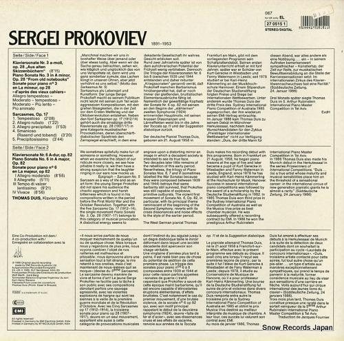 DUIS, THOMAS prokofiev; sonaten / sonatas nos.3 & 6 EL2705151 - back cover