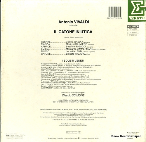 SCIMONE, CLAUDIO / I SOLISTI VENETI vivaldi; il catone in utica NUM75204 - back cover