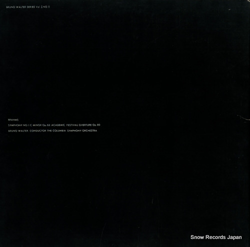 WALTER, BRUNO brahms; symphony no.1 in c minor / academic festival overture SONC10105 - back cover