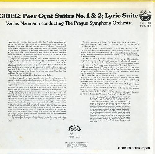 NEUMANN, VACLAV grieg; peer gynt suites no.1 & 2 / lyric suites EVEREST3401 - back cover