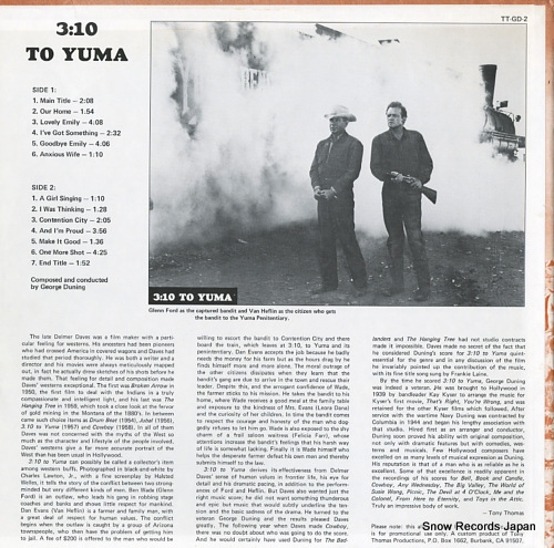 DUNING, GEORGE 3.10 to yuma (film score) TT-GD-2 - back cover