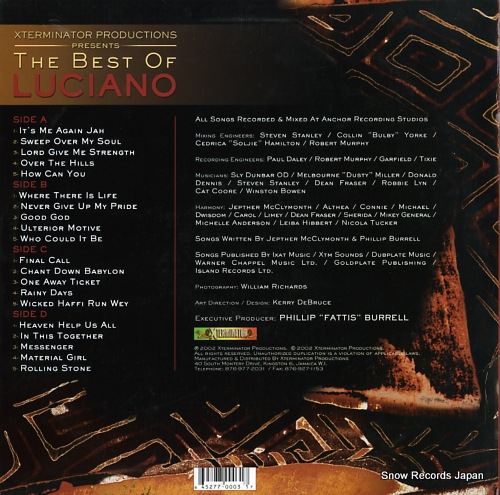 LUCIANO x terminator productions presents the best of luciano XT0003 - back cover