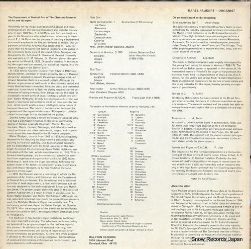 PAUKERT, KAREL organ music from the cleveland museum of art KP-40789 - back cover