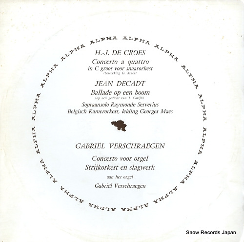 MAES, GEORGES henri jacques de croes; concerto a quattro voor snaarorkest DB91 - front cover