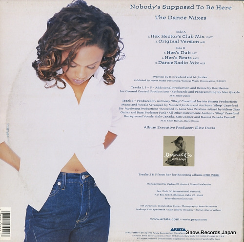 COX, DEBORAH nobody's supposed to be here (the dance mixes) 07822-13551-1 - back cover