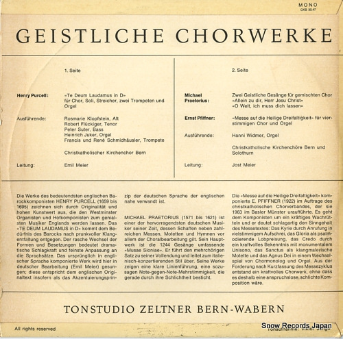 CHRISTKATHOLISCHEN KIRCHENCHORES BERN geistliche chorwerke CKB30.47 - back cover
