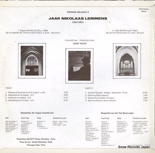 SLUYS, JOZEF jaak nikolaas lemmens; organa belgica ii Z04 - back cover