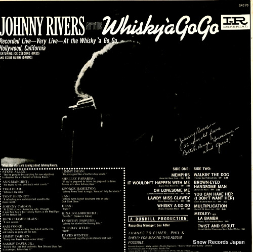 RIVERS, JOHNNY at the whisky a go go GXC70 - back cover