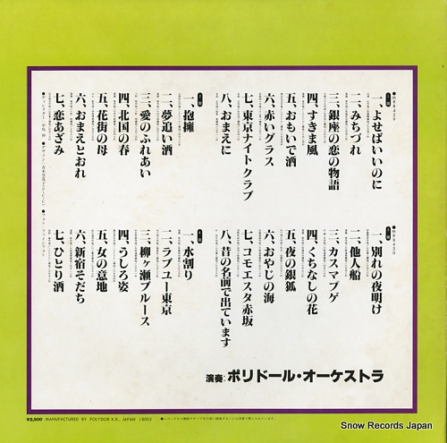 POLYDOR ORCHESTRA zenkoku request / karaoke best 30 MR8429/30 - back cover