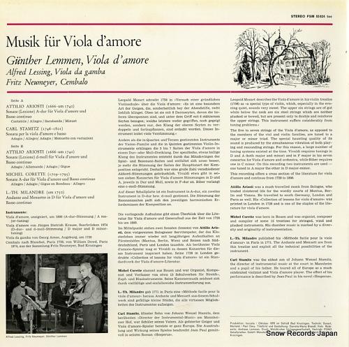 LEMMEN, GUNTHER musik fur viola d'amore FSM53624 - back cover