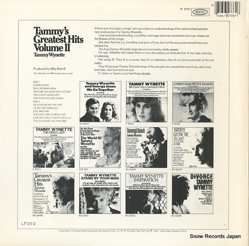 WYNETTE, TAMMY tommy's greatest hits volume ii PE30733 - back cover