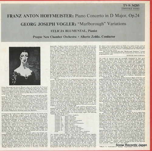 BLUMENTAL, FELICJA hoffmeister; piano concerto in d major, op.24 TV-S34285 - back cover
