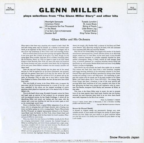 MILLER, GLENN glenn miller RJL-2597(M) - back cover