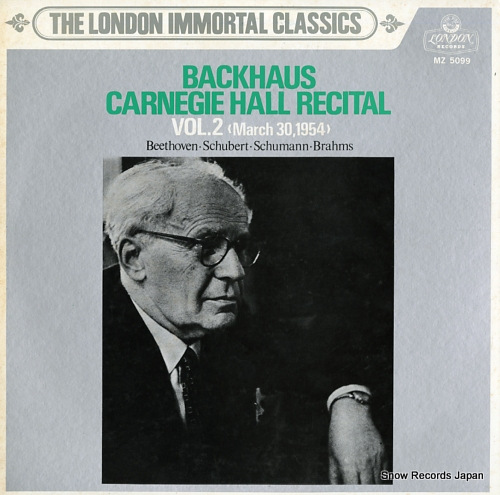 BACKHAUS, WILHELM carnegie hall recital no.2 (march 30.1954) MZ5099 - front cover