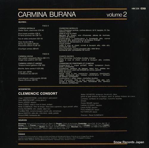 CLEMENCIC, RENE carmina burana. version originale & integrale. volume 2 HM336 - back cover