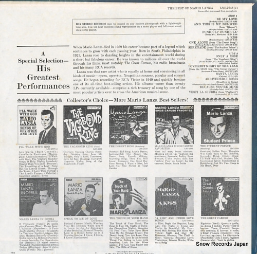 LANZA, MARIO the best of mario lanza LSC-2748 - back cover